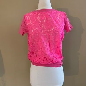 hot pink floral lace t-shirt